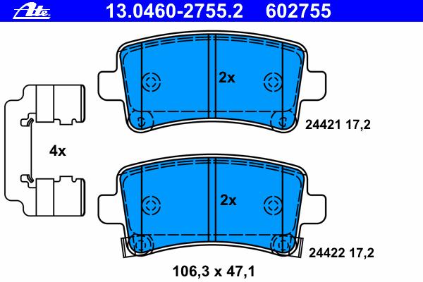 Колодки тормозные дисковые задн, OPEL: INSIGNIA 1.4/1.4 LPG/1.6/1.6 SIDI/1.6 Turbo/1.8/2.0 Biturbo CDTI/2.0 Biturbo CDTI 4x4/2.0 CDTI/2.0 CDTI 4x4/2.0 E85 Turbo/2.0 Turbo/2.0