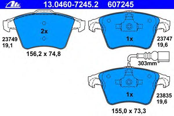 Колодки тормозные дисковые передн, VW: TOUAREG 2.5 R5 TDI/3.0 TDI/3.0 V6 TDI/3.2 V6/3.6 V6 FSI/4.2 V8/4.2 V8 FSI/5.0 R50 TDI/5.0 V10 TDI/6.0 W12 02-10
