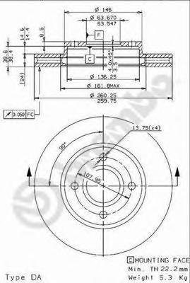 Диск тормозной FORD MONDEO 93-00/SCORPIO 93-98 передний D=260мм.