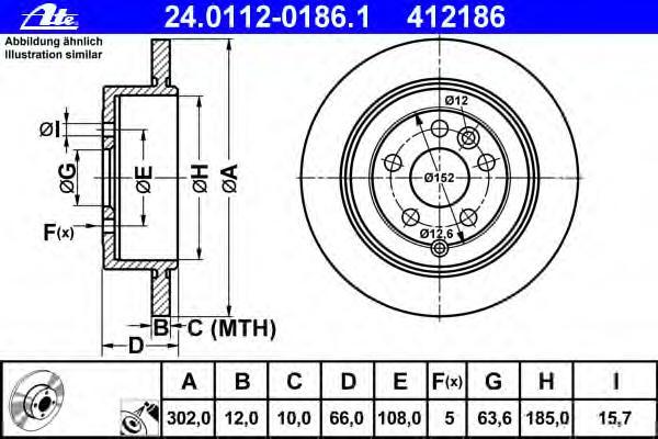 Диск тормозной задн, LAND ROVER: FREELANDER 2 2.2 SD4 4x4/2.2 TD4 4x4/2.2 eD4 06-