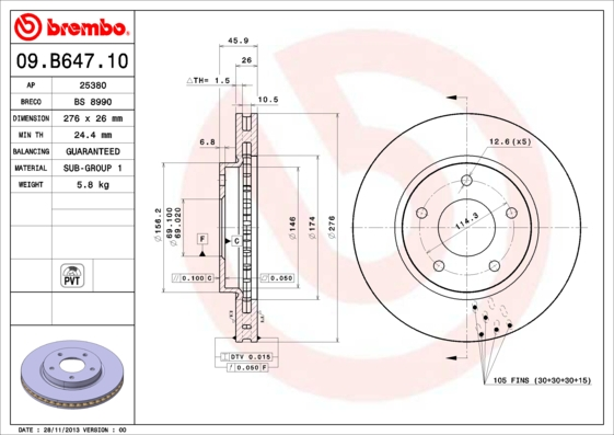 Диск тормозной 09.B647.10