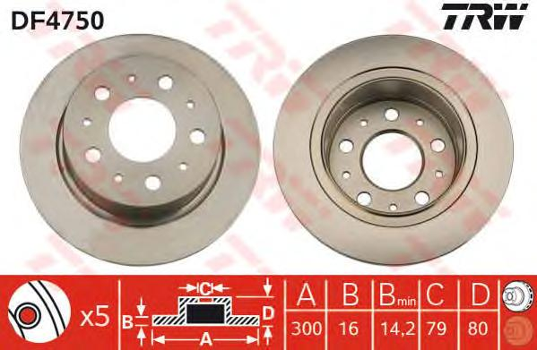 Диск тормозной задний FIAT DUCATO (250) 300мм DF4750
