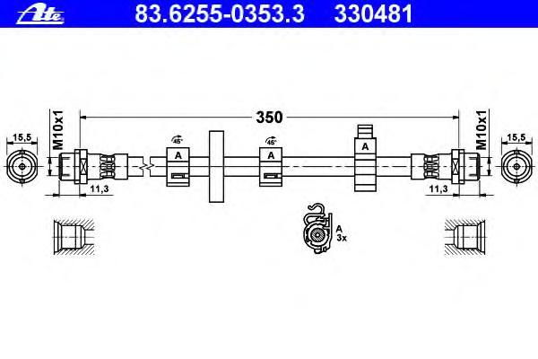 Шланг тормозной VOLKSWAGEN TRANSPORTER (T4) (90-03)