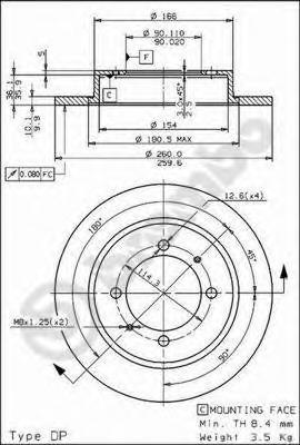 Диск тормозной задн MITSUBISHI: CARISMA 95-06, CARISMA седан 96-06, SPACE STAR 98- \ PROTON: IMPIAN 01- \ VOLVO: S40 I 95-03, V40 универсал 95-04