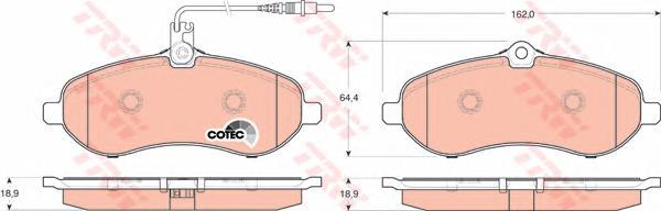 Колодки тормозные дисковые передн CITROEN: JUMPY 1.6 HDi 90 07-, JUMPY фургон 1.6 HDi 90 07- \ FIAT: SCUDO 1.6 D Multijet 07-, SCUDO c бортовой платформой 1.6 D Multijet 07