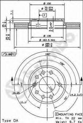Диск тормозной OPEL SIGNUM 03-/VECTRA 02-/SAAB 9-3 02- передний вент.