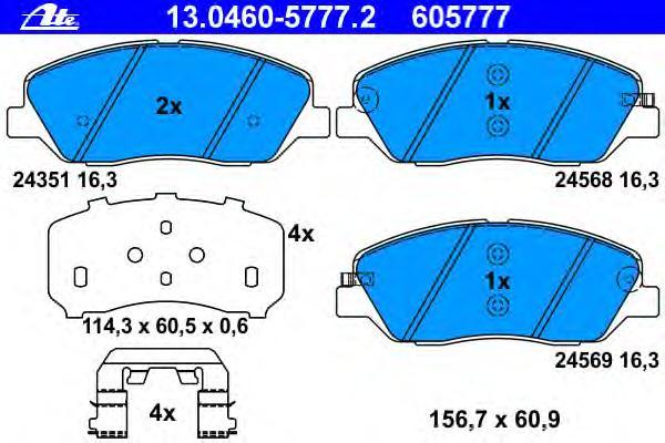Колодки тормозные дисковые передн, HYUNDAI: SANTA FE II 2.0 CRDi/2.0 CRDi 4x4/2.2 CRDi/2.2 CRDi 4x4/2.2 CRDi GLS/2.2 CRDi GLS 4x4/2.4/2.4 4x4/2.7/2.7