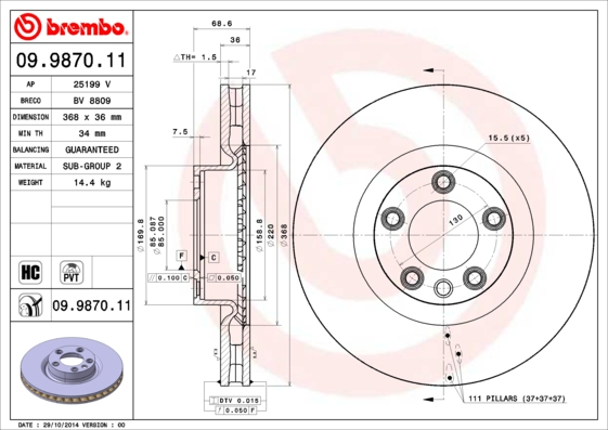 Диск тормозной VOLKSWAGEN TOUAREG/PORSCHE CAYENNE передний вент.D=368мм