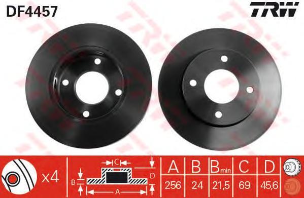 Диск тормозной передний MITSUBISHI COLT VI, SMART FORFOUR (454) (256мм) DF4457