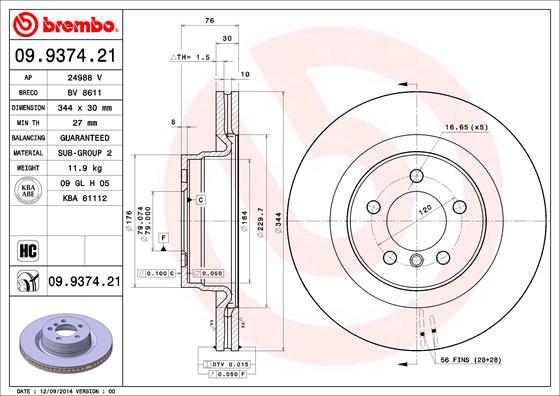 Диск тормозной LAND ROVER RANGE ROVER 3.0-4.4 02- передний D=344мм.