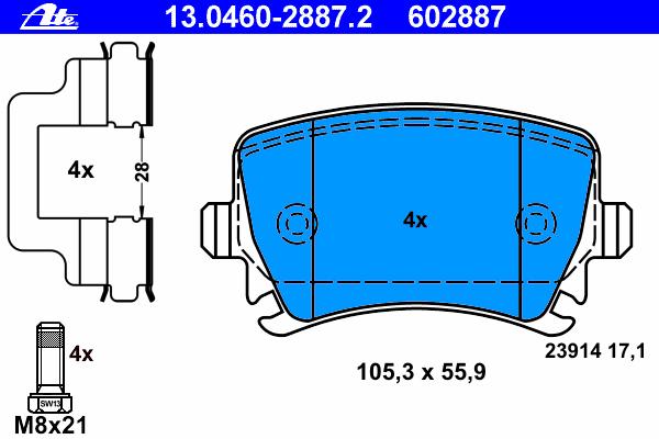 Колодки тормозные дисковые задн, VW: CC 1.4 TSI/1.8 TSI/2.0 TDI/2.0 TDI 4motion/2.0 TSI/3.6 FSI 4motion 11-, PASSAT 1.4 TSI/1.4 TSI EcoFuel/1.4 TSI MultiFuel/1.6 TDI/1.8 TSI/2