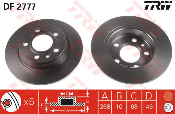 Диск тормозной задн FORD: GALAXY 95-, SEAT: ALHAMBRA 96-, VW: SHARAN 95-