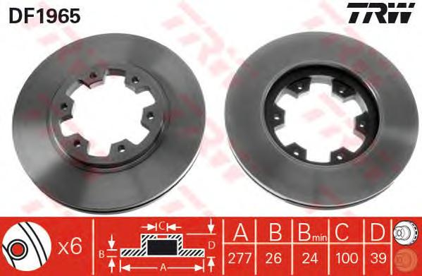 Диск тормозной передн FORD: MAVERICK 93-98, NISSAN: PICK UP 86-98, PICK UP 98-, TERRANO I 87-96, TERRANO II 93-