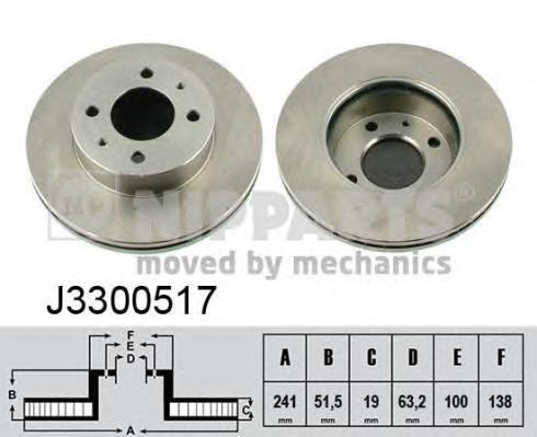 Диск тормозной NIPPARTS J3300517 HYUNDAI ACCENT пер