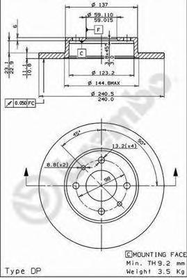 Диск тормозной ALFA ROMEO 86-01 передний/FIAT 88- передний/задний