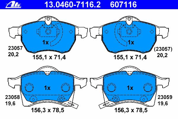Колодки тормозные дисковые передн, OPEL: ASTRA G Наклонная задняя часть 1.8 16V/2.0 16V/2.0 DI/2.0 DTI 16V/2.2 16V/2.2 DTI 98-09