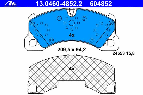 Колодки тормозные дисковые передн, PORSCHE: CAYENNE 3.0 TDI/3.2/3.6/GTS 4.8/S 4.5/S 4.8/Turbo 4.5/Turbo S 4.5/Turbo S 4.8 02-, PANAMERA 4.8 4S/4.8 GTS/4.8 S/4.8 Turbo/4.8 Turb