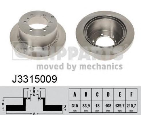 Диск тормозной NIPPARTS J3315009 Pajero 90-00/Pajero Sport 98-07 задний