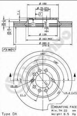 Диск тормозной OPEL ASTRA G/H 98-09/MERIVA 03-/ZAFIRA 99- передний