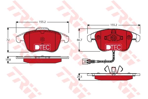 Колодки передние AUDI Q3 (8U), VW SHARAN (7N), TIGUAN (5N_) GDB1762DTE