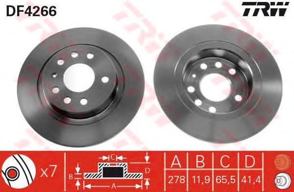 Диск тормозной задний OPEL VECTRA C, SAAB 9-3(YS3F) DF4266