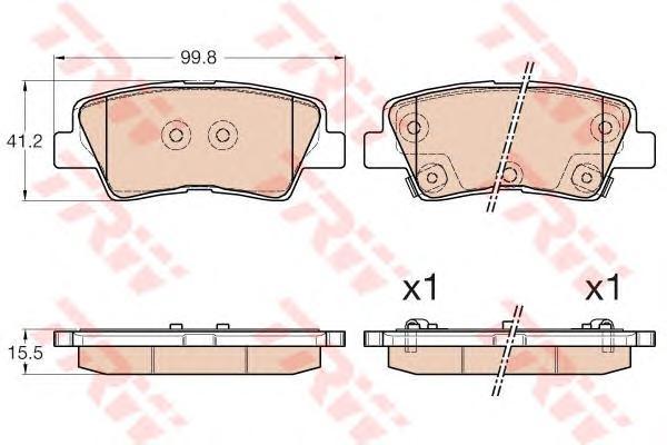 Колодки задние KIA CEE'D, HYUNDAI i30 2012-, TOYOTA AURIS E18 GDB3537