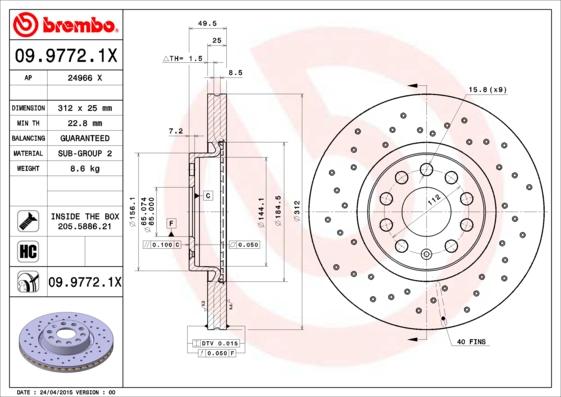 09.9772.1X_диск тормозной передний! перфорированный Xtra\ VW Passat 1.4TSi/1.6/2.0TDi 05>
