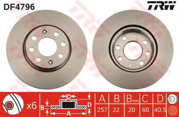 Диск тормозной передний OPEL CORSA D, ADAM, FIAT PUNTO (199) DF4796
