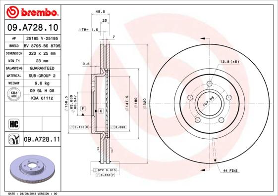 Диск тормозной FORD: FOCUS II 04-, VOLVO: C70 II кабрио 06-, S40 II 04-, V50 04-