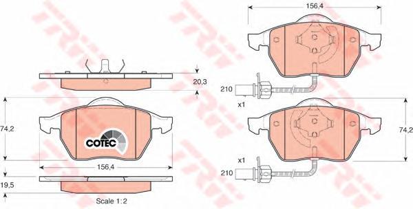 Колодки передние AUDI A4 (B5-B7), A6 (C5-C6), VW PASSAT (3B_) GDB1307