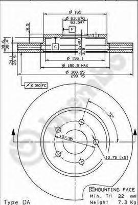 Диск тормозной FORD MONDEO III 00>/JAGUAR X-TYPE 01> передний вент.