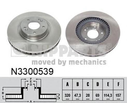 Диск тормозной NIPPARTS N3300539 OPTIMA/ I40 320*28