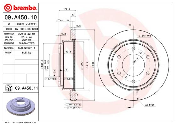 Диск тормозной MITSUBISHI PAJERO 00-/PAJERO SPORT 98- задний вент.D=300мм.