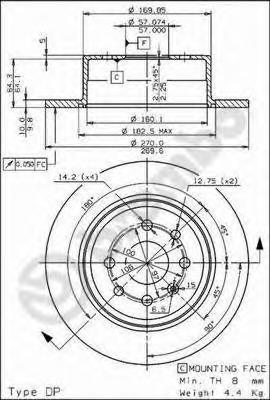 Диск тормозной OPEL VECTRA 1.6-2.0 95-03 задний