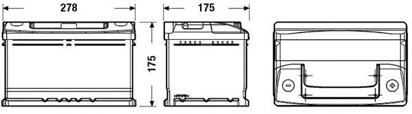 Аккумуляторная батарея 65Ah DETA STANDARD 12 V 65 AH 540 A ETN 0(R+) B13 278x175x175mm 16.8kg