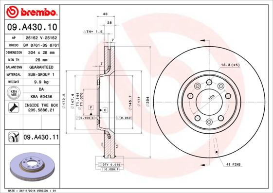 Диск тормозной CITROEN C5 08-/JUMPY/PEUGEOT EXPERT 07- передний вент.