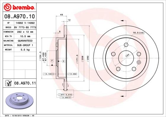 "Диск тормозной OPEL INSIGNIA R16"" 08-/SAAB 9-5 R16"" 10- задний D=292мм."