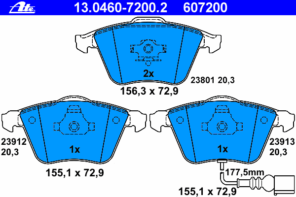 Колодки тормозные дисковые передн, AUDI: A3 1.2 TSI/1.4 TFSI/1.6/1.6 FSI/1.6 TDI/1.8 TFSI/1.8 TFSI quattro/1.9 TDI/2.0 FSI/2.0 TDI/2.0 TDI 16V/2.0 TDI 16V quattro/2.0 TDI quat
