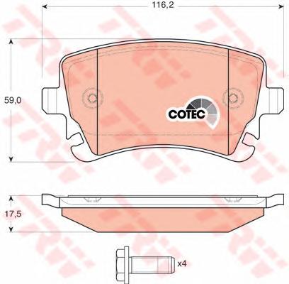 Колодки тормозные AUDI S4/S6/A8 02/04-> задние