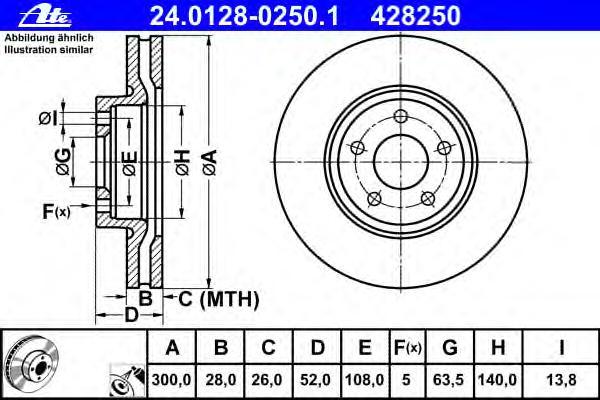 Диск тормозной передн, FORD: MONDEO IV 1.6 EcoBoost/1.6 TDCi/1.6 Ti/1.8 TDCi/2.0/2.0 EcoBoost/2.0 Fl