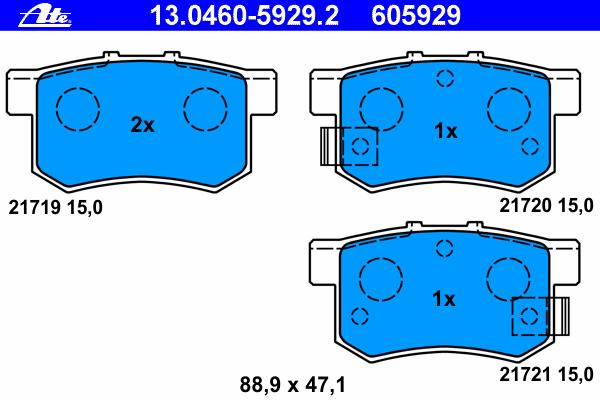 Колодки тормозные дисковые задн, FIAT: SEDICI 1.6 16V/1.6 16V 4x4/1.9 D Multijet/1.9 D Multijet 4x4/2.0 D Multijet/2.0 D Multijet 4x4 06- \ HONDA: ACCORD IV 2.0 16V/2.0 i 16V/