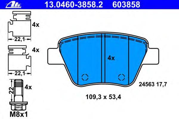 Колодки тормозные дисковые задн, AUDI: A1 1.2 TFSI/1.4 TFSI/1.6 TDI/2.0 TDI/2.0 TFSI quattro 10-, A1 Sportback 1.2 TFSI/1.4 TFSI/1.6 TDI/2.0 TDI 11-, A3 1.2 TSI/1.4 TFSI/1.6/1