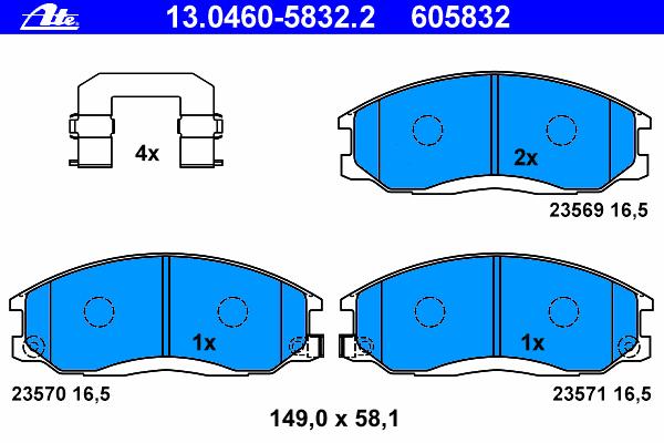 Колодки тормозные дисковые передн, HYUNDAI: H-1 фургон 2.4/2.5 CRDi/2.5 TD/2.6 CRDi 97-07, HIGHWAY VAN 2.0 16V/2.7 V6 24V 00-, SANTA FE I 2.0/2.0 CRDi