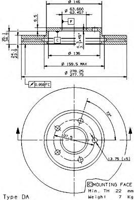 Диск тормозной FORD TRANSIT/TOURNEO CONNECT 1.8/1.8D 02- передний вент.