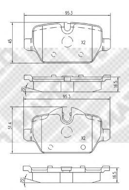 К-т торм. колодок Re BMW 1 (E87), 3 (E90, 91)