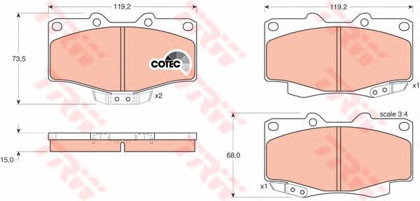 Колодки передние TOYOTA LAND CRUISER 70-90 GDB797