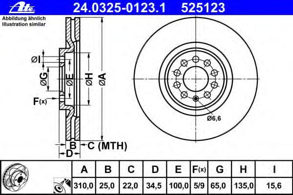 Диск тормозной передн, POWER DISC, AUDI: A3 S3 quattro 96-03, TT 1.8 T/1.8 T quattro 98-06, TT Roadster 1.8 T/1.8 T quattro 99-06 \ SEAT: IBIZA IV 1.8 T Cupra R 02-0