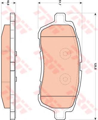 Колодки передние FORD FIESTA VI (толщина18,8мм) GDB1893