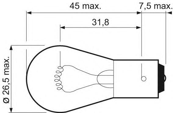 Лампа сигнальная P21W (2) 032101