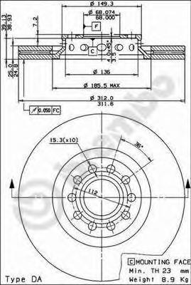 Диск тормозной AUDI A4 00-/A6 97-05/VW PASSAT 00-05 передний D=312мм.